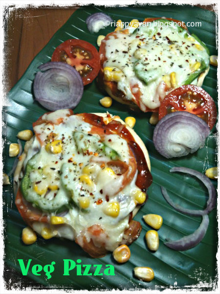 Kids' favorite Veg Pizza with ready-made pizza bases