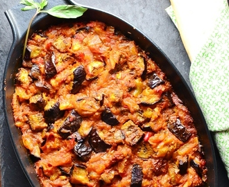 Spicy Eggplant with Tomato and Thai Basil