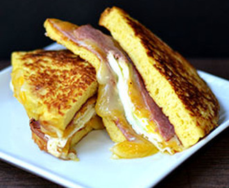 French Toast Grilled Cheese Sandwich with a Fried Egg
