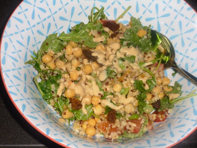 Chickpea, Bulgar Wheat and Quinoa Salad with a Tahini Dressing Recipe
