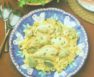 Chicken Breasts and Artichokes with Fettuccine