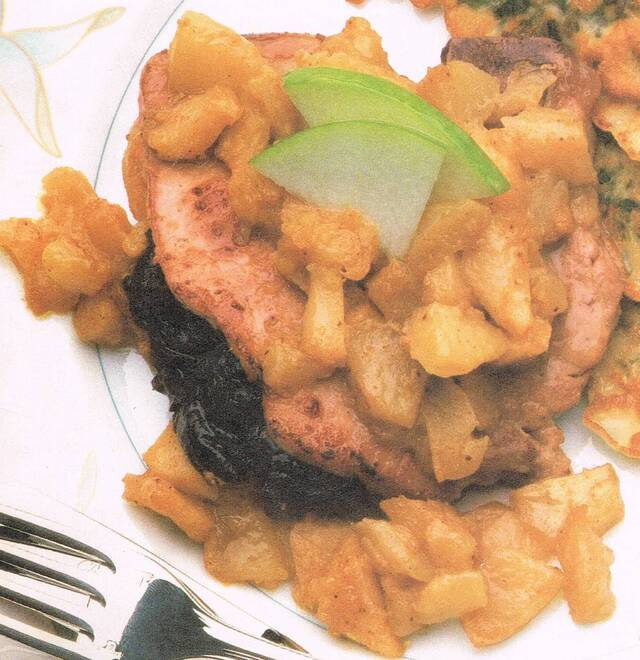 Prune-Stuffed Pork Chops with Apples
