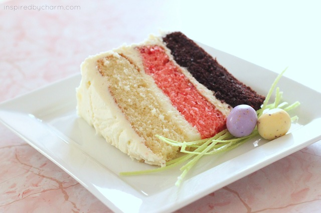 a spring themed neapolitan birthday cake