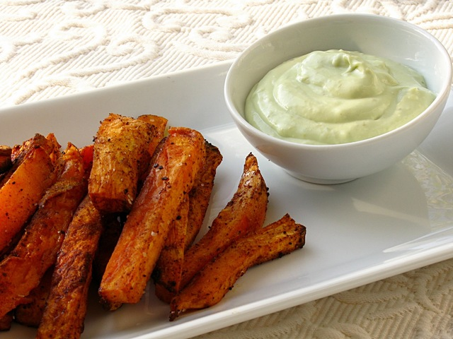 Sweet Potato Oven Fries with Avocado Dip