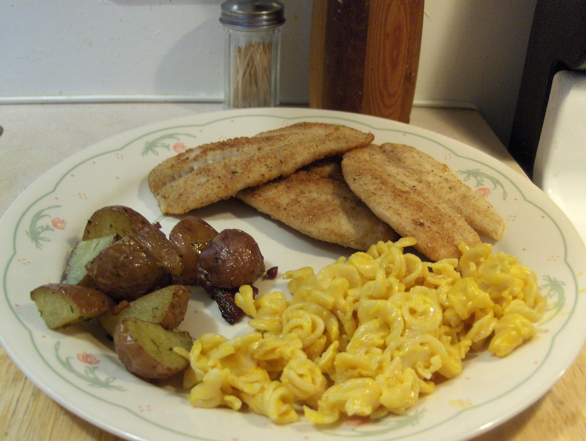 Fried Crappie w/ Velveeta Rotini & Cheese, Roasted Red Potatoes, and...