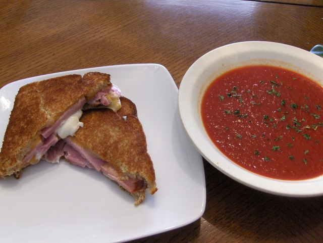 Grilled Ham and Cheese w/ Tomato Soup