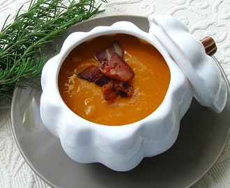 Butternut Squash and Cannellini Bean Soup with Bacon