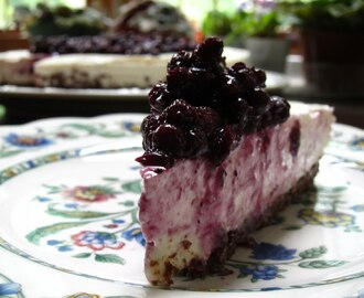 No Bake Blueberry Cheesecake on a Chocolate Graham Cracker Crust