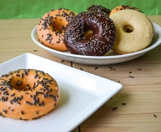 Baked Donuts w/ Pumpkin Spice glaze and Dark Chocolate
