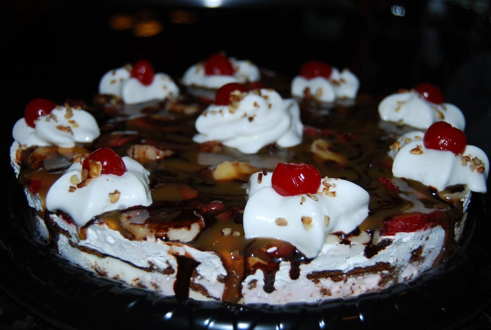 Banana Split Ice Cream Sandwich Pie!