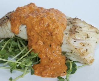 Grilled Halibut with red pepper and tomato sauce