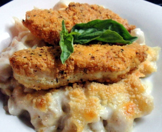 Gluten Free Crispy Chicken and Creamy Conchiglie = pasta shells
