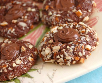 Fudgy Chocolate-Almond Nutella Thumbprint Cookies