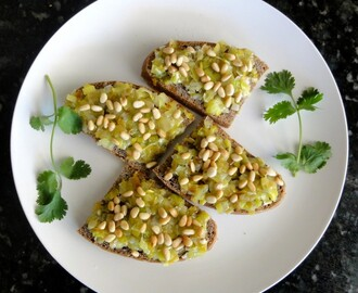 Bruschetta with Sautéed Leeks and Toasted Pine Nuts