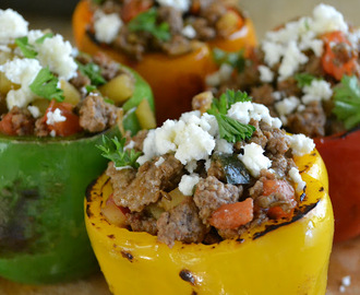 Muy Bueno Cookbook Spotlight: Stuffed Bell Peppers with Picadillo