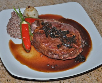 Cumin Blue Agave Glazed Rib Roast with Pink Peppercorn Wild Mushroom Glace Viande and Sumac Manchego Red Quinoa Polenta