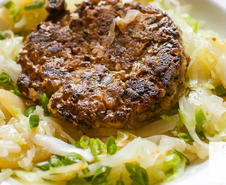 Vegan Farmhouse Veggie Burger and Russian Fried Cabbage