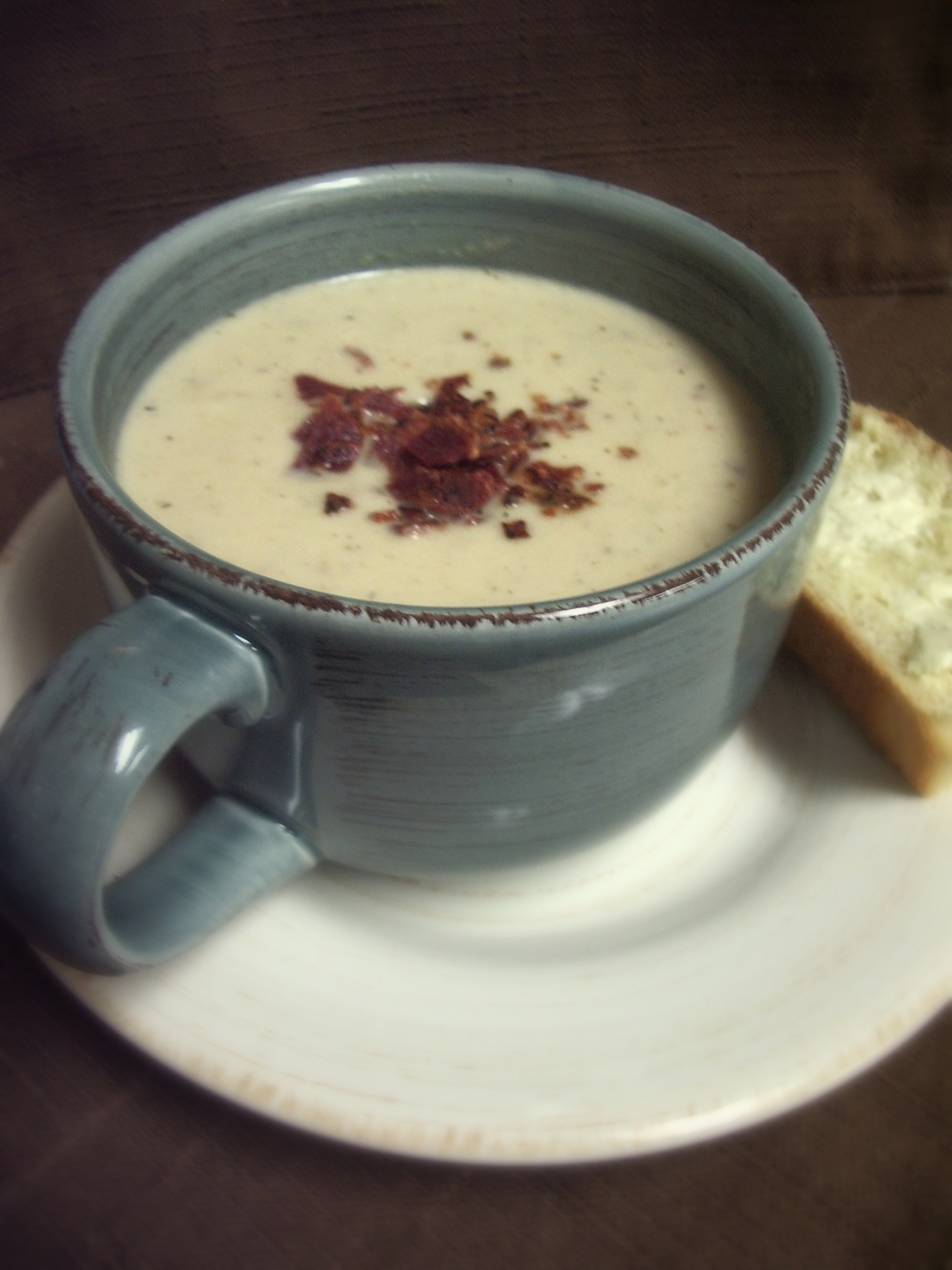 Roasted Cauliflower and Aged White Cheddar Soup