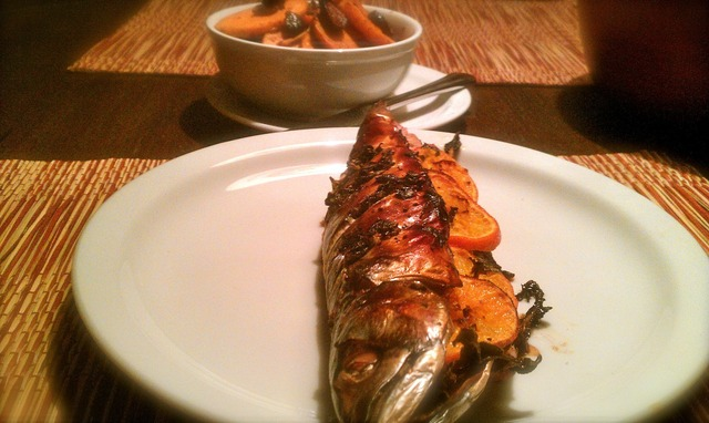 Whole Roasted Mackerel and Braised Sweet Potatoes with Mission Figs