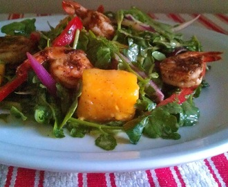 Mango Watercress Salad with Jerk Shrimp