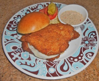 Double Fish Sandwich with Provolone and Sweet Pepper Tartar Sauce