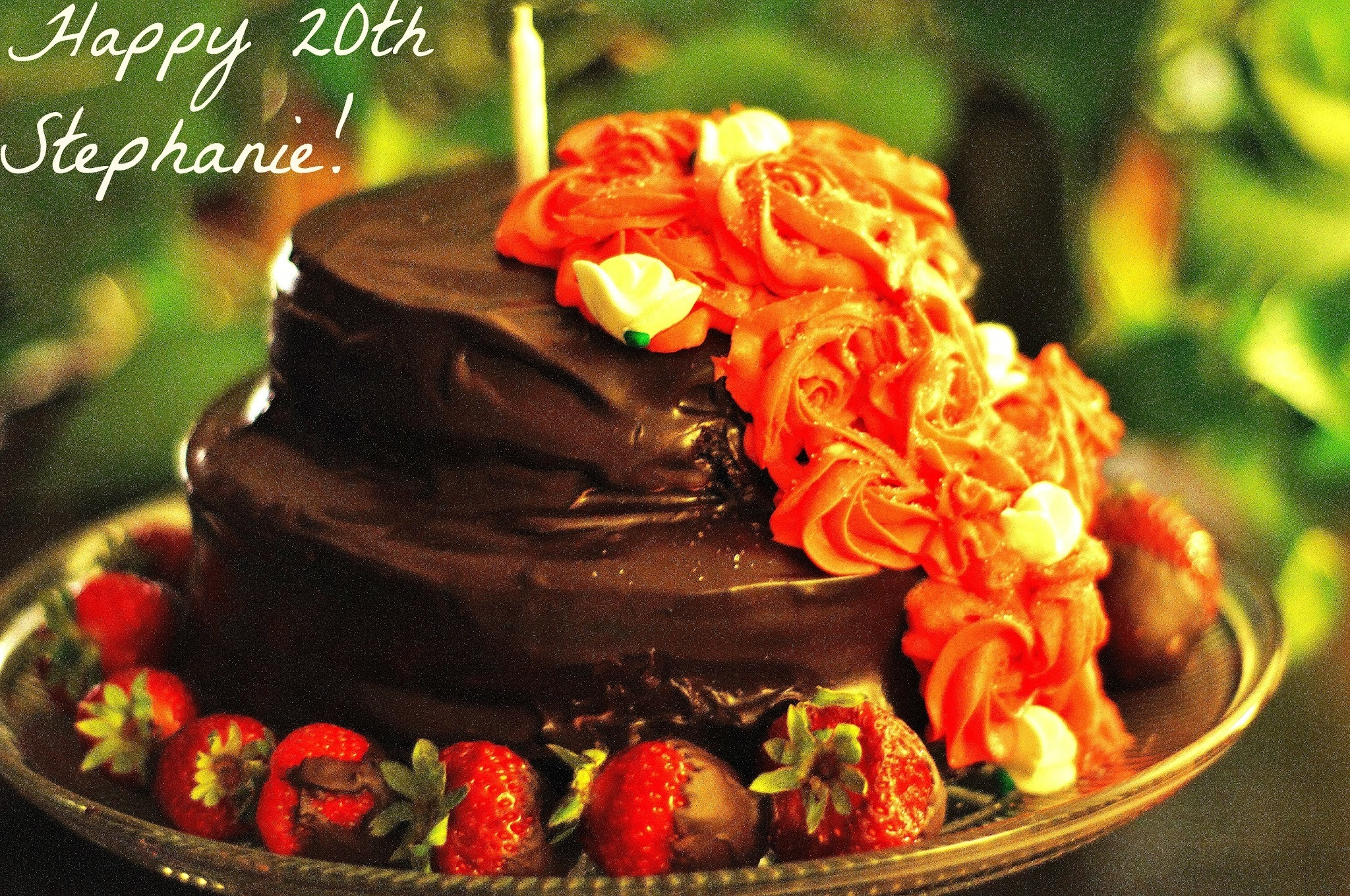 ~Stephanie's 20th Birthday Chocolate Cake with Strawberry Cream Cheese Filling and Dark Chocolate Ganache~