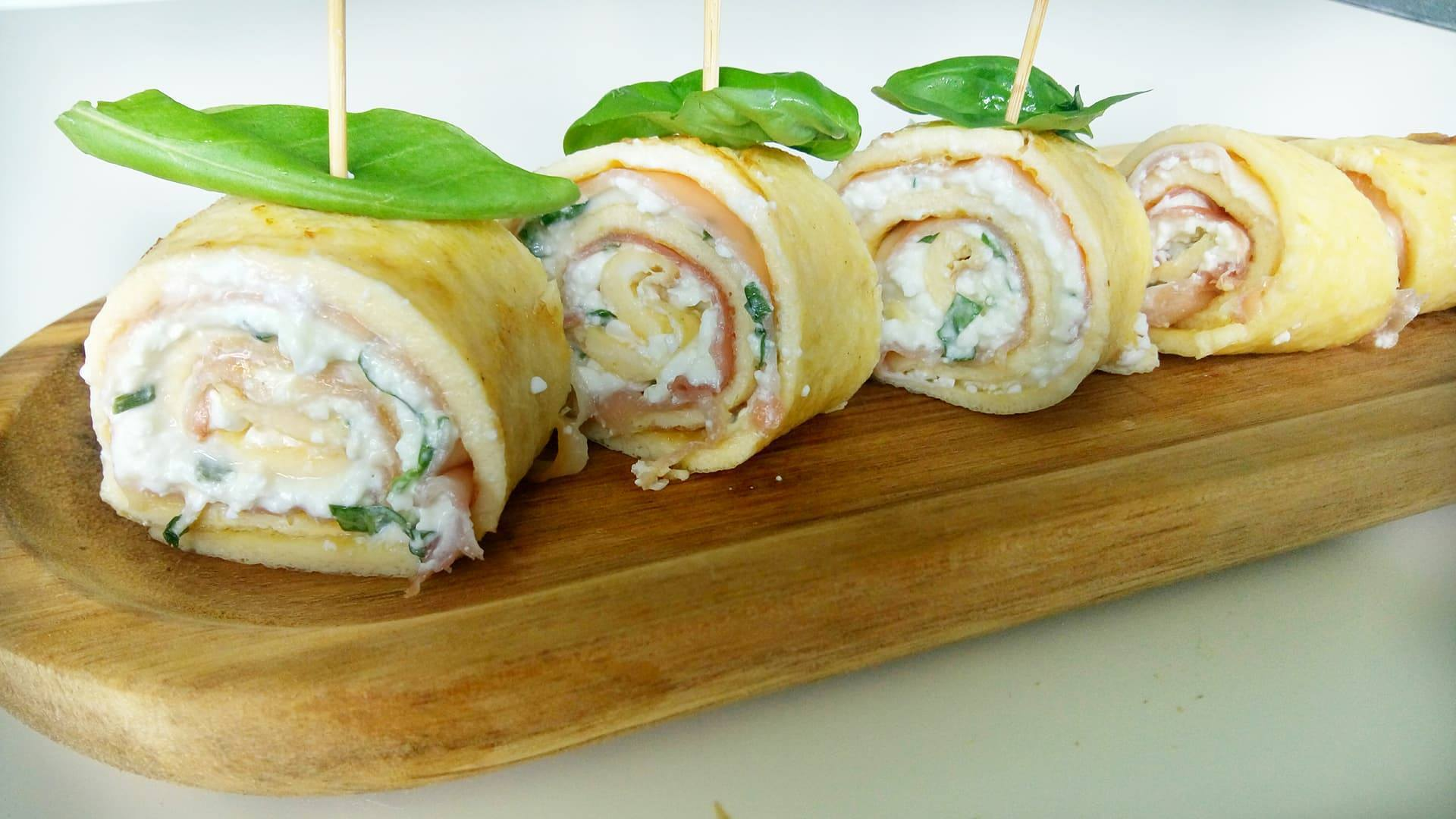 Eiwraps met rauwe ham en cottage cheese
