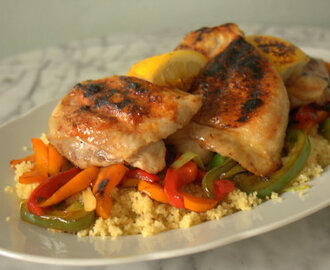 Recipe: Lemony Maple Chicken Thighs with Sticky Pepper Cous Cous
