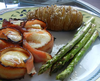 Grilled Sea Scallops and Hasselback Potatoes