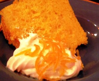 Orange Chiffon Cake with Whipped Cream and Candied Orange Peel