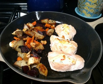 """Stuffed"" Chicken Breasts and Roasted Root Vegetables"