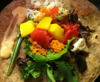 Fish Tacos with Mango, Carrot, and Watermelon Radish Garnish