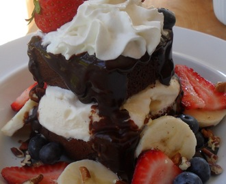 Hot Fudge Cake...All Dressed Up For Independence Day!