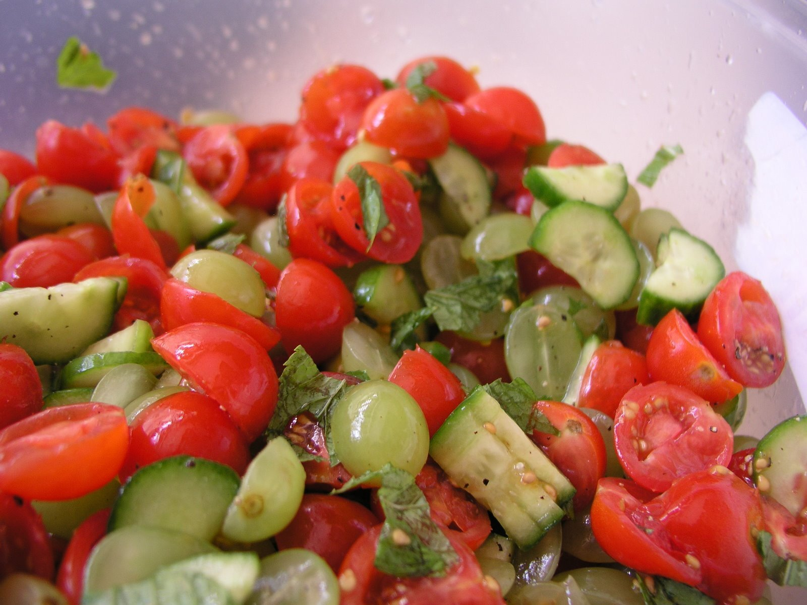 Baby Tomato Grape Cucumber and Mint Salad
