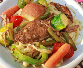 Pot Roast Fresh Vegetables Over Fresh Pasta