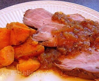 Brown Sugar Pork Roast with Sweet Potatoes and Onion Gravy