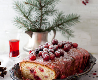 Lemon Cake with Cranberries and Lemon Icing