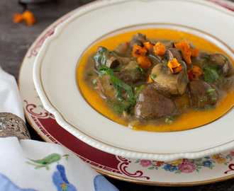 Portobello Mushrooms in Curried Coconut Milk Sauce over Pumpkin Puree