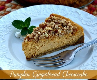 Pumpkin Gingerbread Cheesecake {Gingerbread Oreo Cookie Crust}