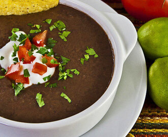 Mexican Black Bean Soup with Cilantro-Lime Cream (GF)