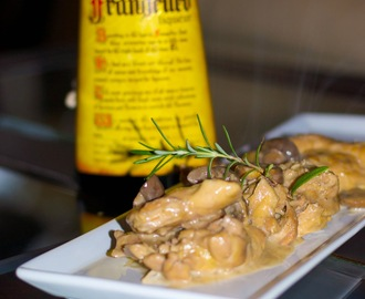 Braised Chicken with Cremini Mushrooms in a Frangelico Cream Sauce