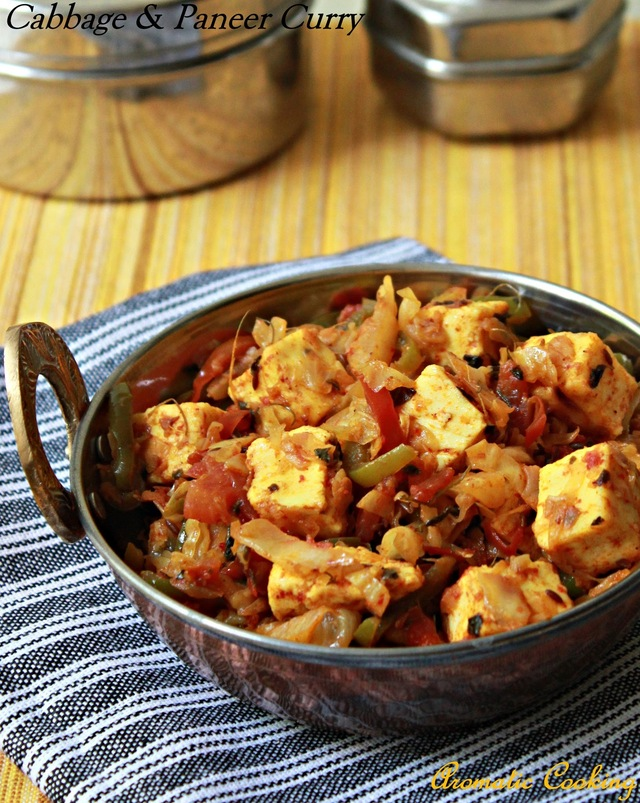 Cabbage & Paneer (Indian Cottage Cheese) Curry