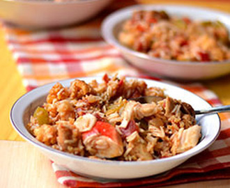 "Chicken, Sausage & (imitation) Crab ""Dirty Rice"""