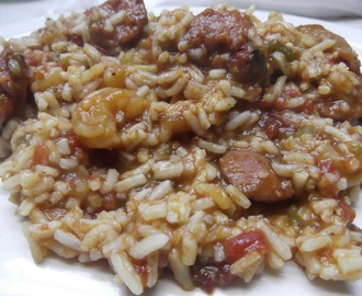 Spicy Jambalaya with Andouille, Shrimp and Bacon