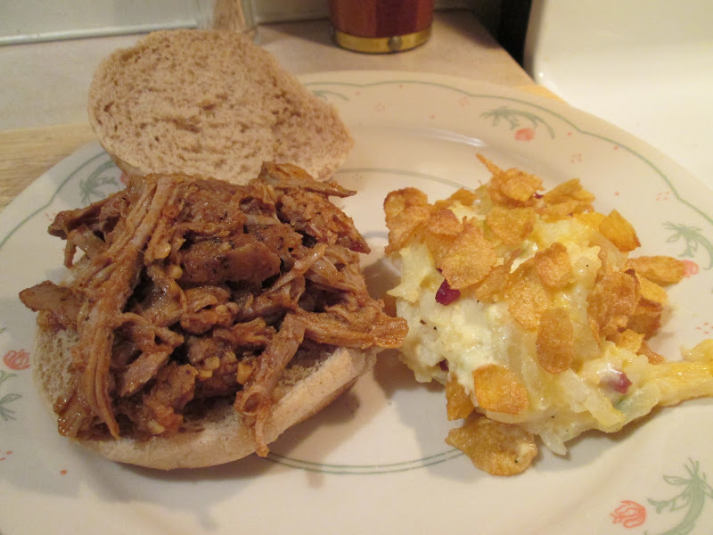 Sweet and Spicy Pork and Sandwich w/ Cheesy Potato Casserole