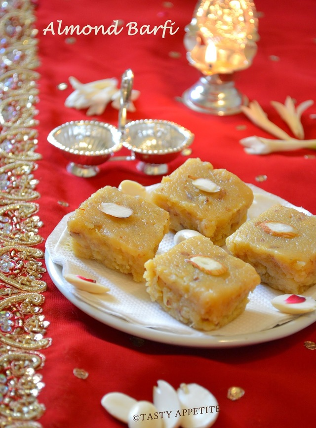 Almond Burfi / Badam Burfi / ( Badam Ki Fudge) / Diwali Sweets Recipes: