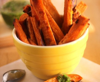 Sweet Potato Fries and Green Chili Chutney