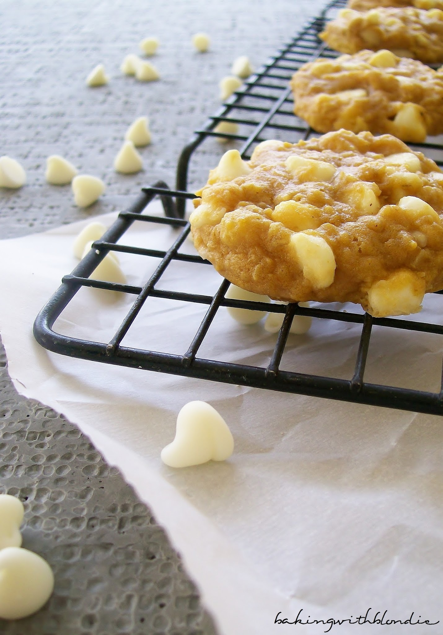 Pumpkin and White Chocolate Chip Macadamia Nut Cookies
