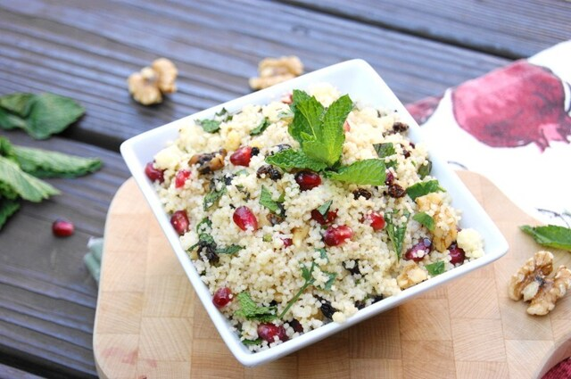 Couscous Salad with Pomegranate Seeds & Mint {Eating the Alphabet Letters P, Q, R}