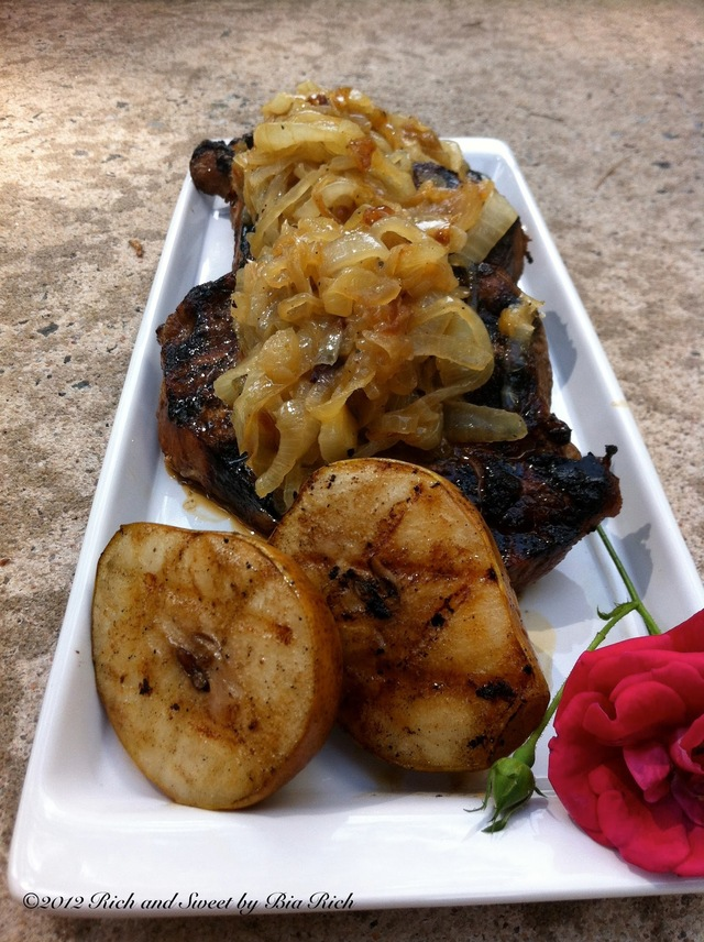 Asian Grilled Pork Chops with Grilled Pears and Caramelized Onions